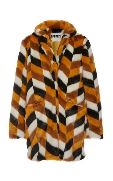 Apparis Camille Color-Blocked Faux Fur Coat Size: XS