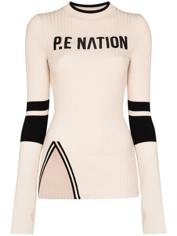 P.E Nation Run logo-print knitted jumper in neutrals