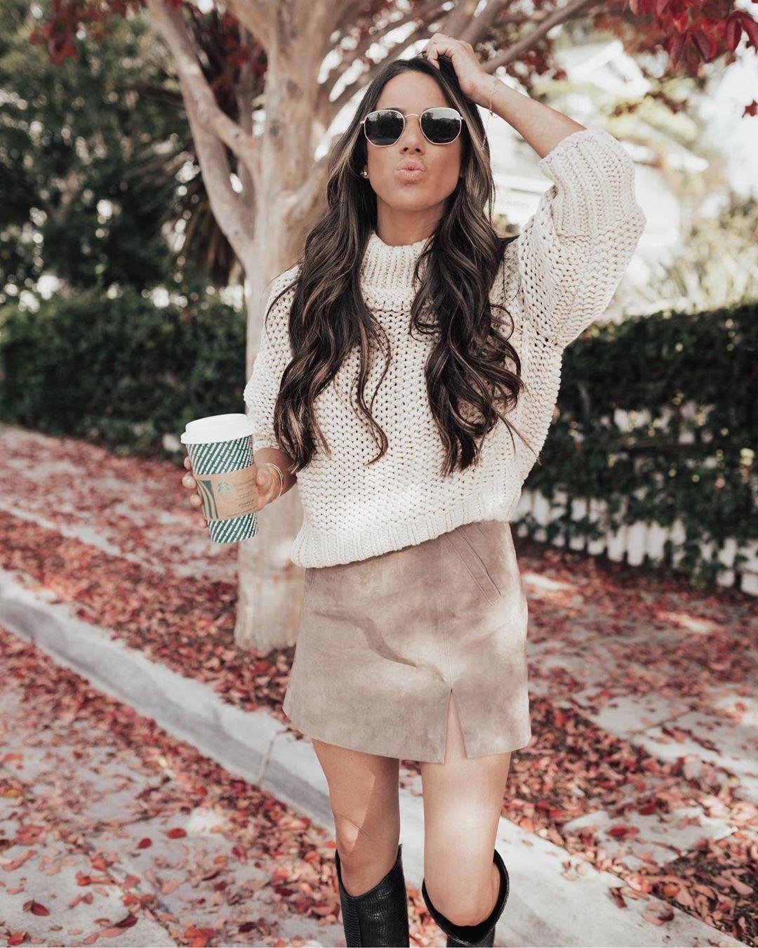 skirt suede skirt knee high boots mini skirt white sweater