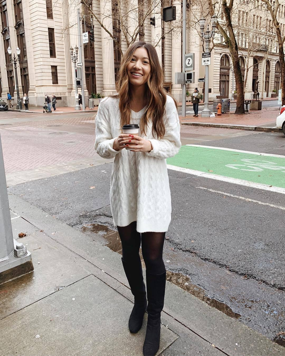 shoes knee high boots aldo tights white sweater h&m cable knit oversized sweater