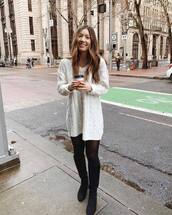 shoes,knee high boots,aldo,tights,white sweater,h&m,cable knit,oversized sweater