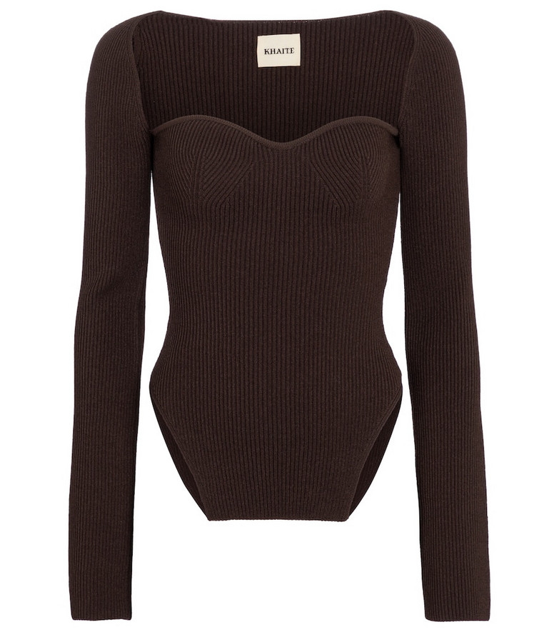 Khaite Maddy ribbed-knit top in brown