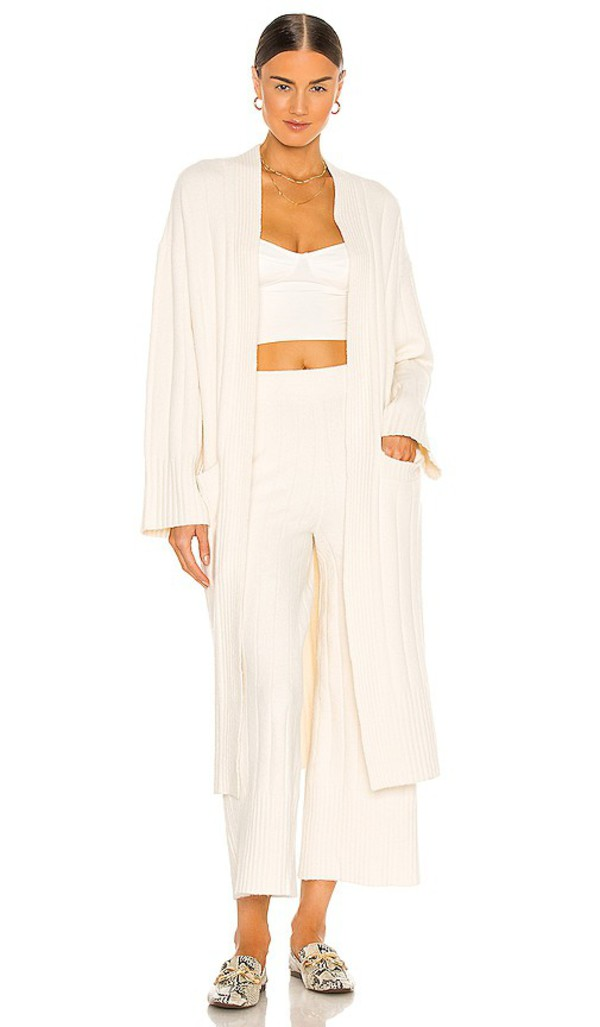 Weekend Stories Gigi Maxi Cardigan in Ivory in white