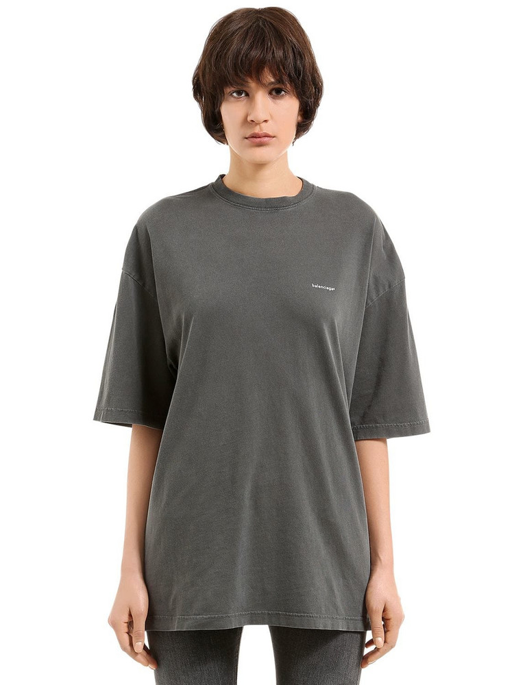 BALENCIAGA Oversized Copyright Logo Jersey T-shirt in black