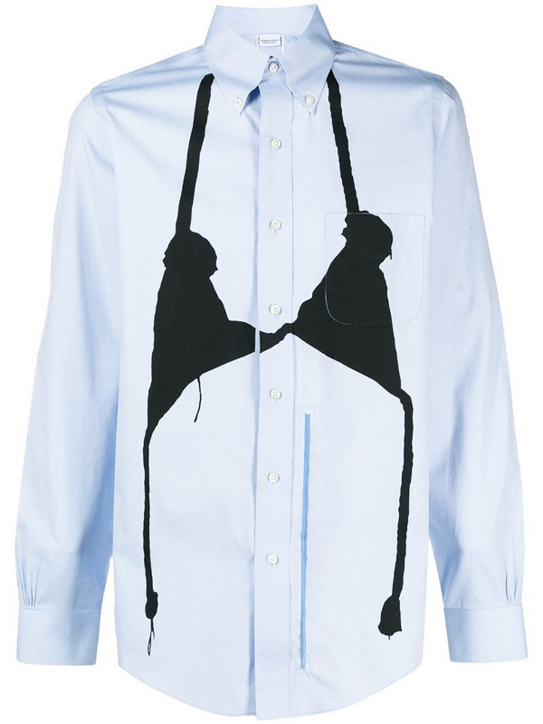 Random Identities layered cotton shirt in blue