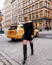 shoes,knee high boots,heel boots,mini dress,black dress,long sleeve dress,black sunglasses