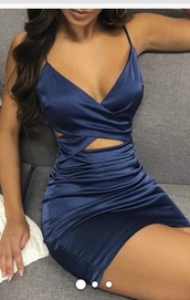 dress,blue,silk,criss cross,tight