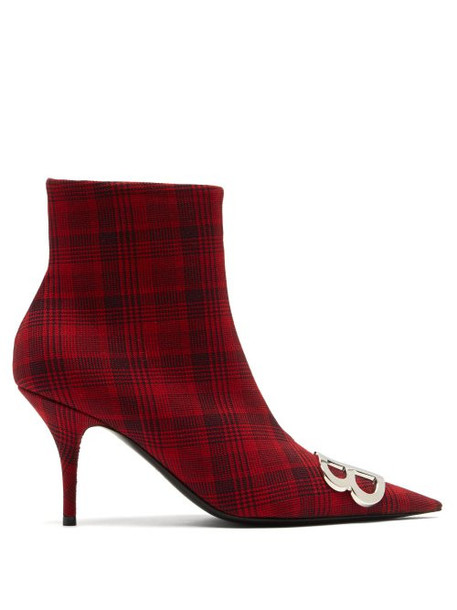 Balenciaga - Bb Logo Plaque Checked Ankle Boots - Womens - Red