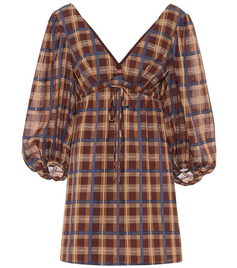 Staud Exclusive to Mytheresa – Keshi checked cotton-blend minidress in brown
