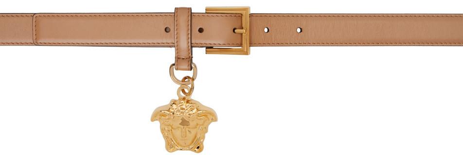 Versace Tan 'La Medusa' Charm Belt in gold