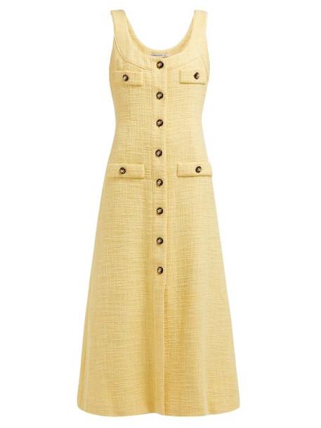 Alessandra Rich - Buttoned Cotton Blend Tweed Dress - Womens - Yellow
