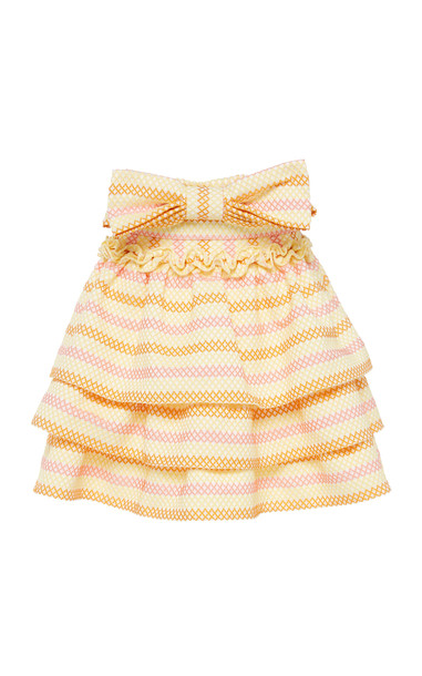 Luisa Beccaria Jacquard Tiered Cotton Blend Mini Skirt With Ruffled Si