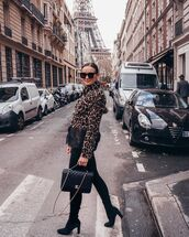 jacket,faux fur jacket,leopard print,black boots,chanel bag,black leggings