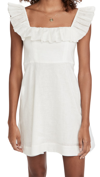 Zimmermann Brighton Ruffle Neck Dress in ivory