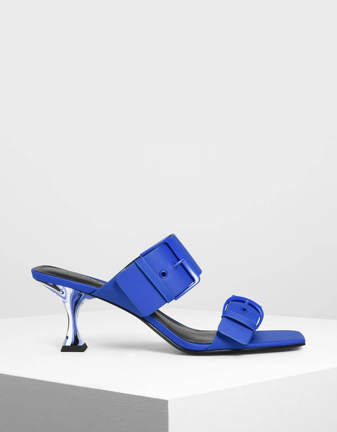 Square Toe Sculptural Heels in blue