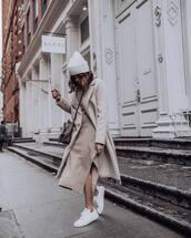 dress,turtleneck dress,knitted dress,midi dress,slit dress,white sneakers,long coat,backpack,beanie