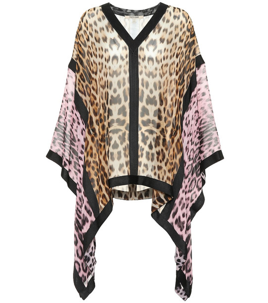 Roberto Cavalli Leopard-print silk blouse in brown