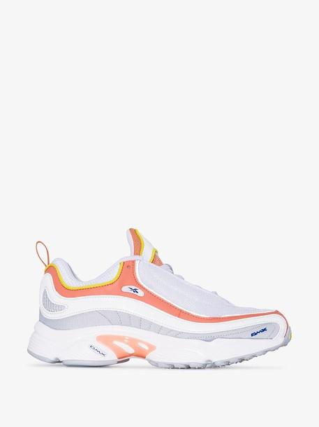Reebok White and Orange Daytona DMX LT Sneakers