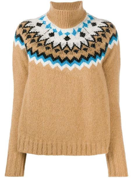 Ermanno Ermanno intarsia knit jumper in brown