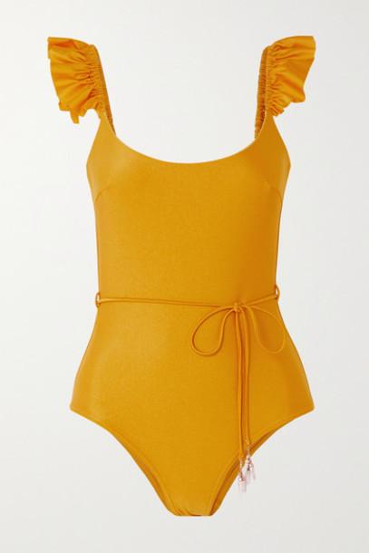 Zimmermann - Bonita Embellished Belted Ruffled Swimsuit - Yellow