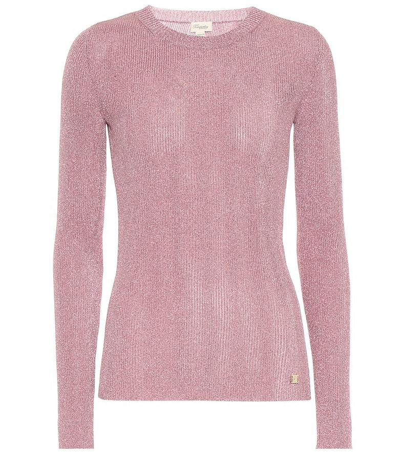 Temperley London Metallic knit top in pink