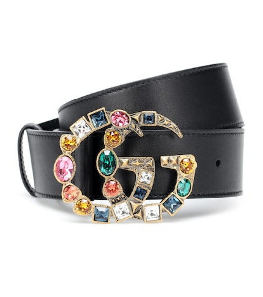 Gucci GG crystal-embellished leather belt in black
