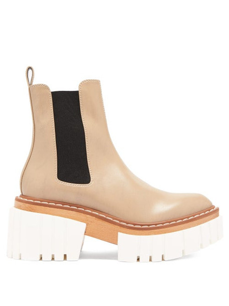 Stella Mccartney - Emilie Faux-leather Platform Chelsea Boots - Womens - Beige