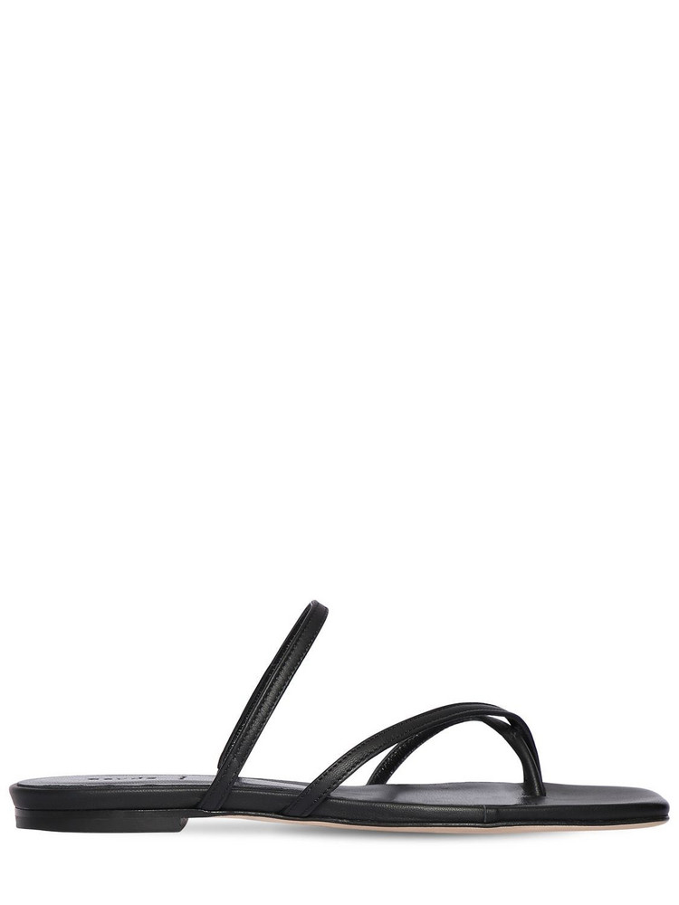 AEYDE 10mm Marina Leather Flat Sandals in black
