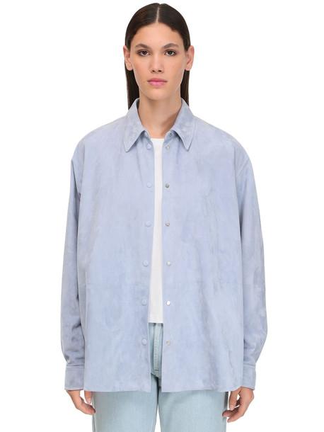 LOEWE Suede Shirt Jacket in blue