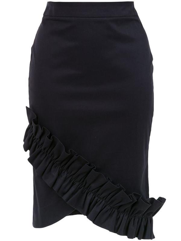 Isolda Amaryllis pencil skirt in black