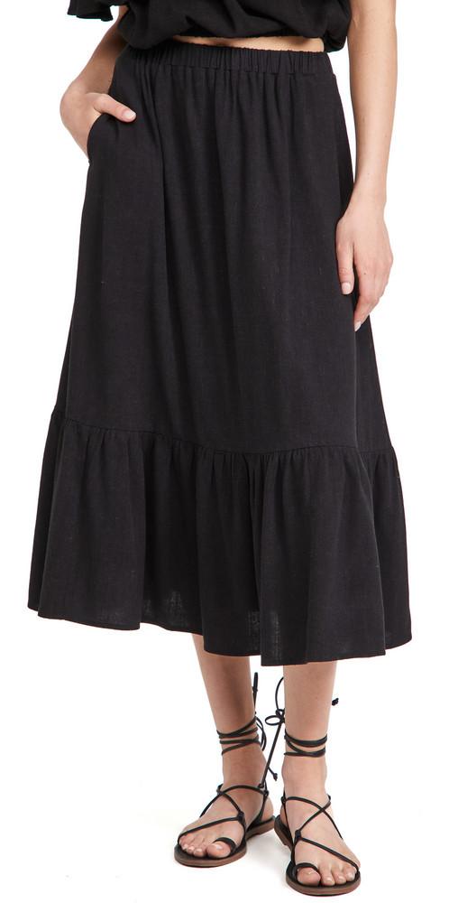 Rachel Pally Linen Elena Skirt in black