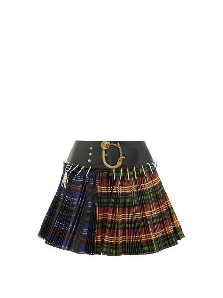 Chopova Lowena - Pleated Tartan-check Wool-blend Mini Skirt - Womens - Black Multi