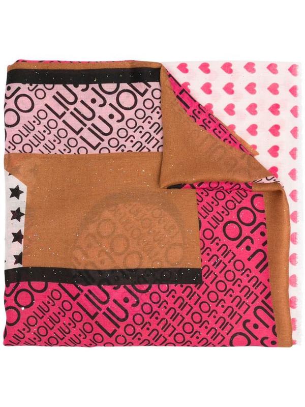 LIU JO mutli-print glitter scarf in brown