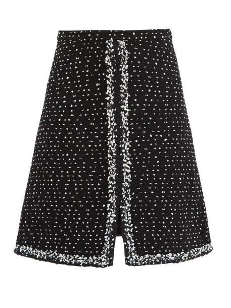 Giambattista Valli - Slit-hem Wool-blend Bouclé-tweed Skirt - Womens - Black Multi