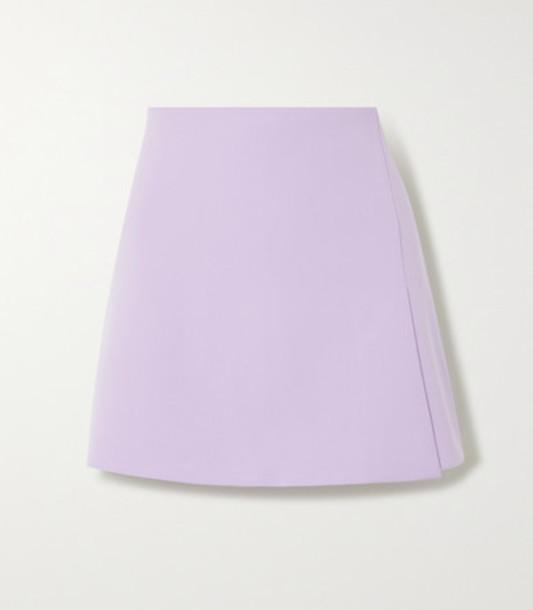 Alice + Olivia Alice Olivia - Sherilyn Wrap-effect Grain De Poudre Mini Skirt - Lilac