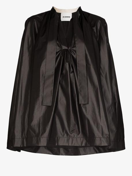 Jil Sander JIL MAVIS TOP BLS OS CLRLS TIE LS GTHRD in black
