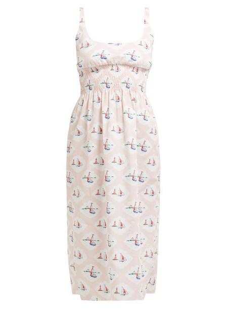 Emilia Wickstead - Giovanna Boat Print Dress - Womens - Pink Print