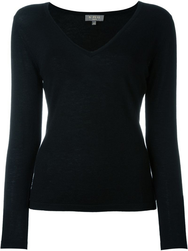 N.Peal cashmere superfine v-neck sweater in black