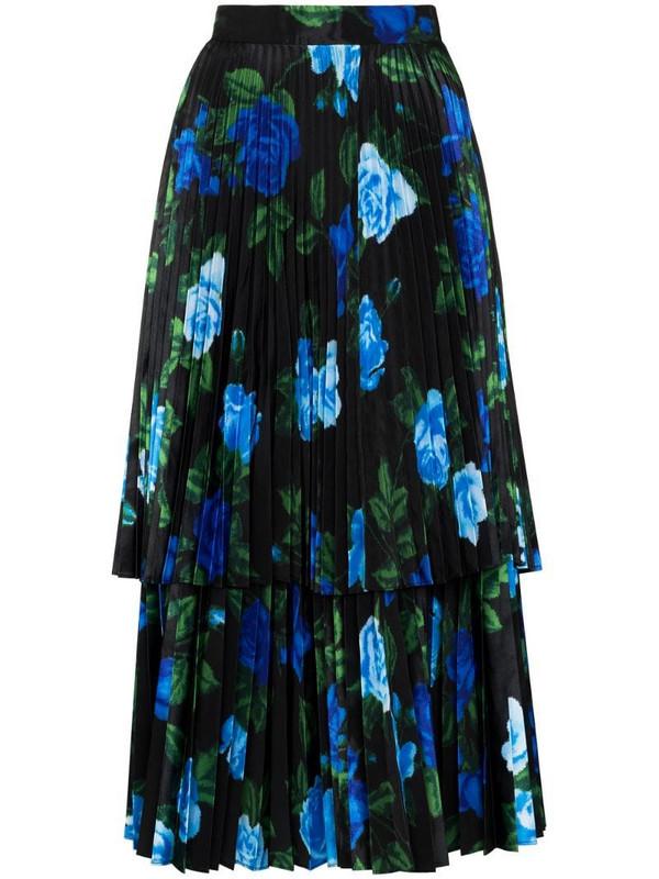 Richard Quinn floral-print pleated skirt in blue