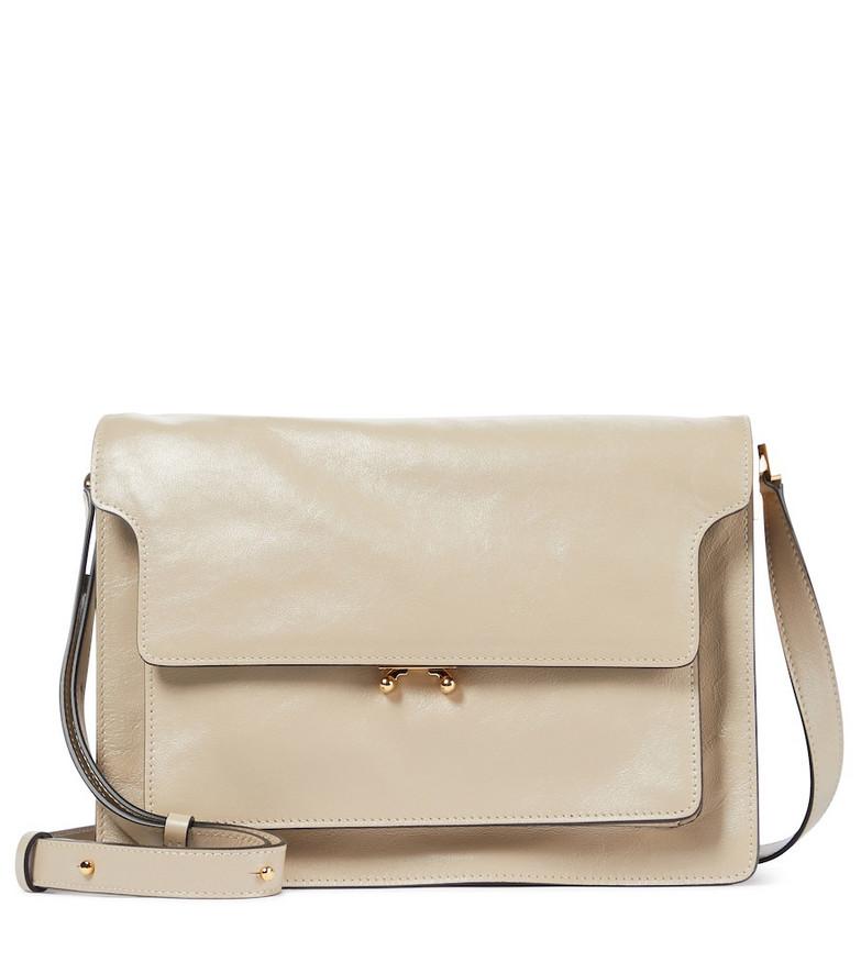 Marni Soft Trunk Large leather shoulder bag in beige