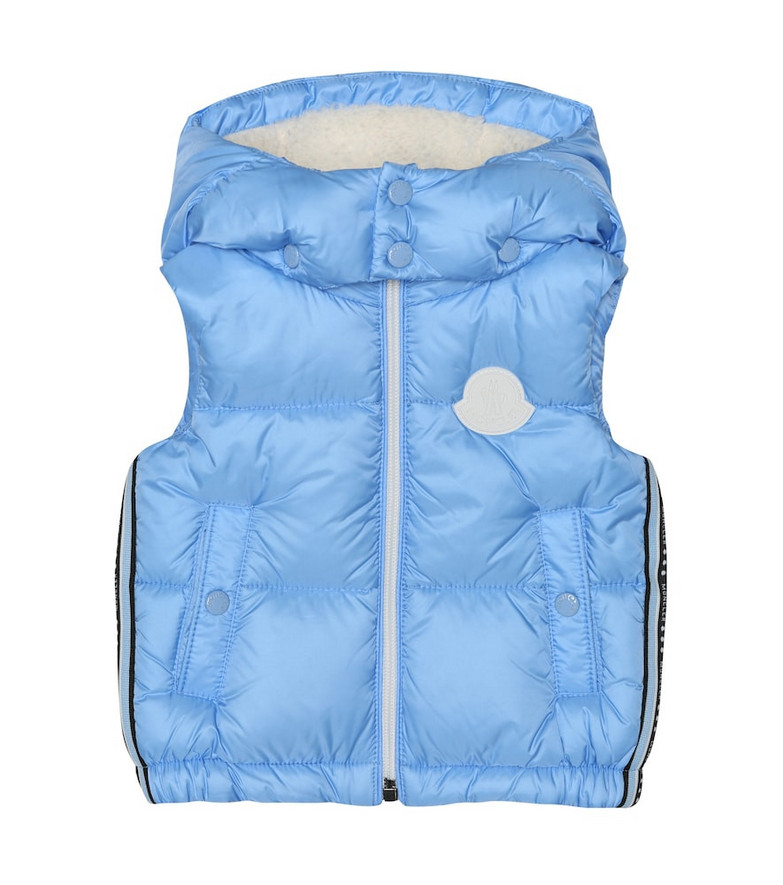 Moncler Enfant Baby Luoroux fur-trimmed down jacket in blue