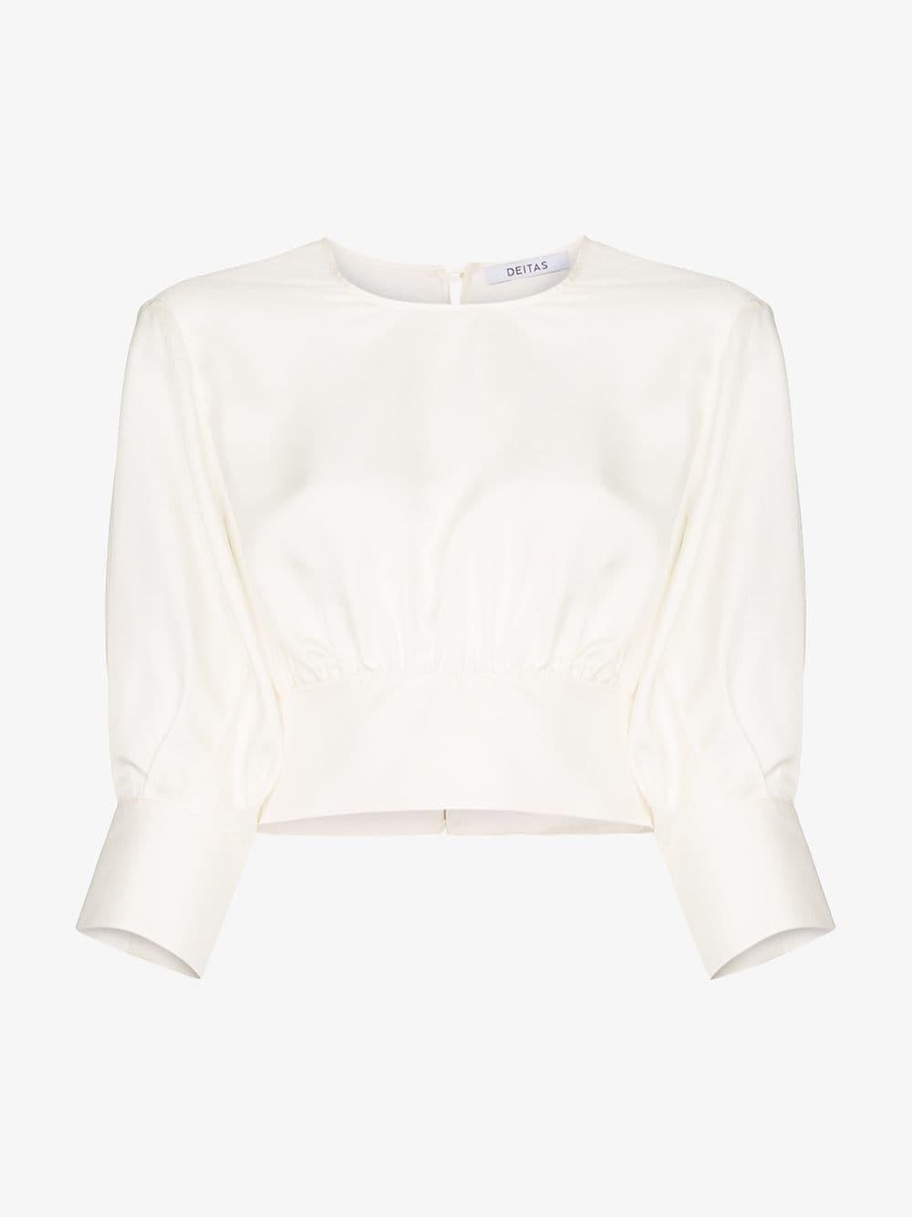Deitas Sade cropped silk blouse in white