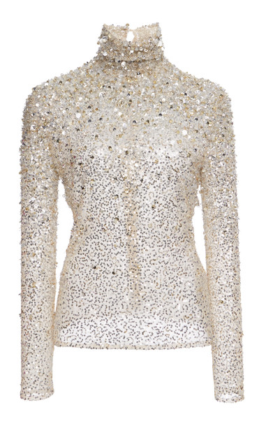 Valentino Sequin Embellished Tulle Turtleneck in silver
