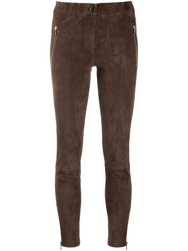 Arma skinny suede trousers in brown
