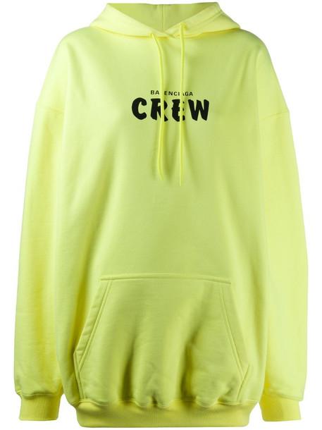Balenciaga Crew oversize hoodie in yellow