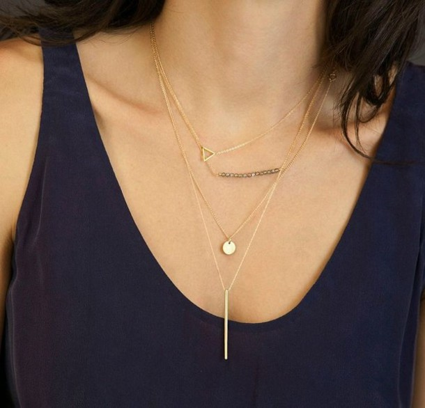 jewels layered layered necklace layered necklaces gold gold jewelry gold necklace simple necklace triangle stacked jewelry staple item