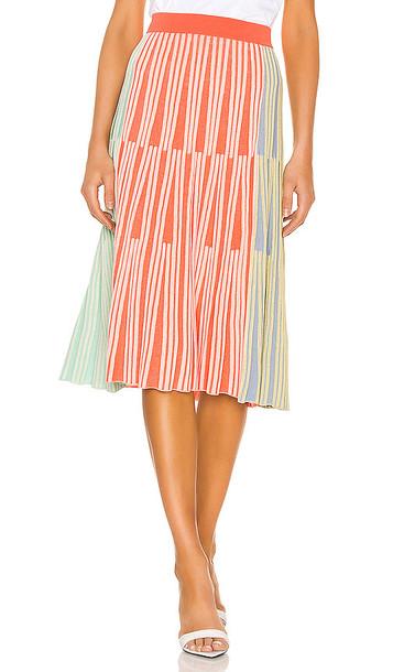 Kenzo Midi Skirt in Orange,Green
