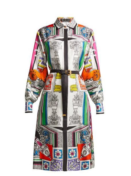 Versace - Temple Print Silk Satin Shirtdress - Womens - White Multi
