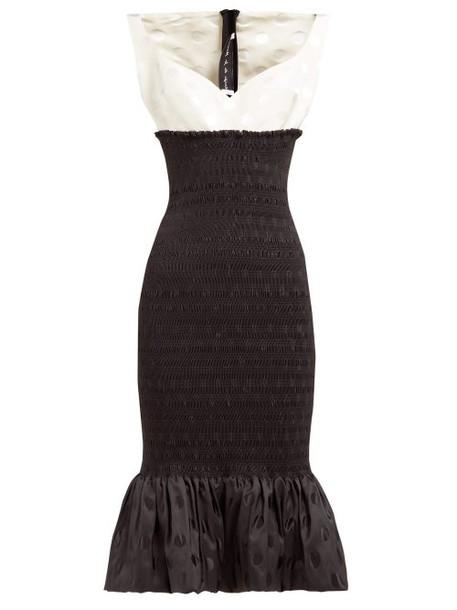 Emilio De La Morena - Shirred Polka Dot Jacquard Midi Dress - Womens - Black White