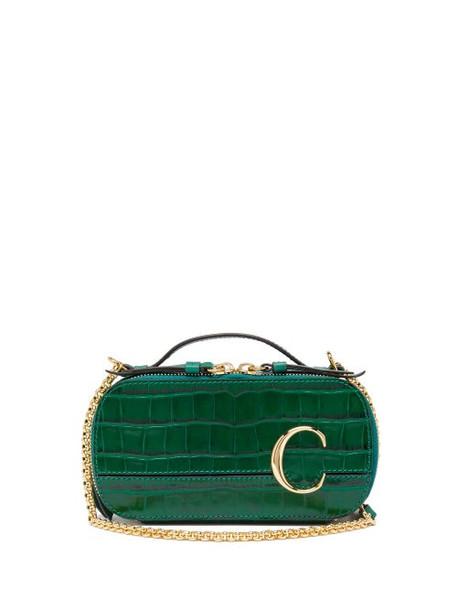 Chloé Chloé - The C Croc-effect Leather Cross-body Bag - Womens - Green